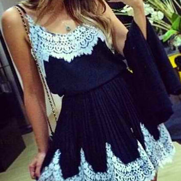 Spaghetti Strap Lace-Paneled Skater Dress