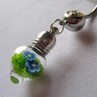 Glass Vial Belly Button Ring, Bottle Belly Ring, Barbell, Vial Body Jewelry, Belly Button Jewelry