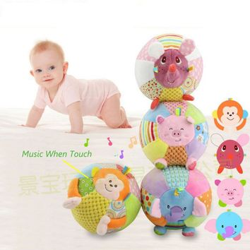 Baby Music Toys Soft Rattle Animal Mobile Crib Stroller Toy Stuffed Doll For Children Musical Bed Educational Toy I012
