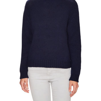 PURE NAVY Women's Cashmere Chunky Funnel Neck Sweater - Dark Blue