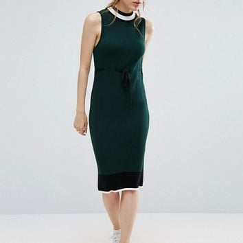 ASOS Knit Midi Dress With Stripe Detail and Tie Waist at asos.com