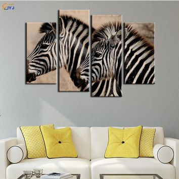 4 Pcs Home Decor African Zebra Oil Painting on Canvas Wall Art Gift HD Print Waterproof Canvas Picture No Framed by JYJ PT0190