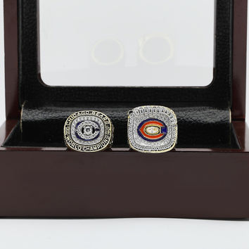 Chicago Bears Super Bowl Football Championship Replica Ring 2 Years Set