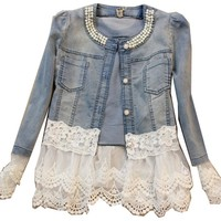 Denim Jacket Lady Vintage Jeans Jacket Lace Jacket
