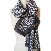 Handmade and Naturally Dyed Black and White Floral Paisley Organic Silk Scarf