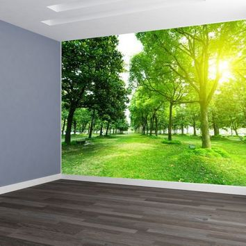 Green Trees Grass Custom Designed Wallpaper Peel and Stick
