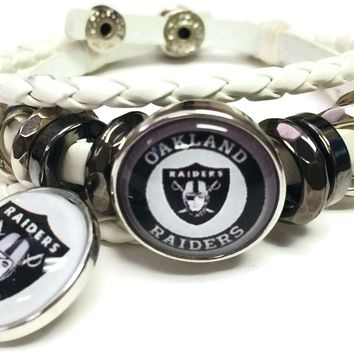 NFL Oakland Raiders White Leather Bracelet W/2 Shield Circle Logo Snap Jewelry Charms New Item