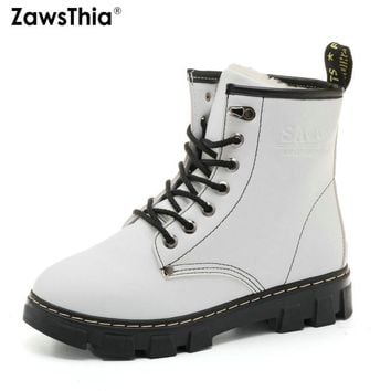 ZawsThia 2018 winter platform lace up warm plush fur inside woman shoes white black martin boots dr martens women ankle boots