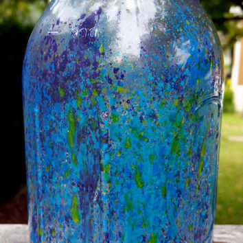 Blue and Purple Splatter Paint Jar, Painted Mason Jar, Lighted Jar, Splatter Mason Jar, Dorm Decor, Indoor Glass Decor, Mason Jar Light