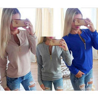 Hot Sale Stylish Long Sleeve Round-neck Zippers Tops Hoodies Jacket [7322493697]