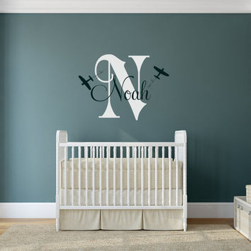 Personalized Airplane Wall Decal, Airplane Nursery, Airplane Decor, Airplane Nursery, Nursery Plane, Airplane Wall Decal