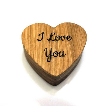 Custom Wooden Heart Shaped Gift Box Valentines Gift Personalized Ring Box Wedding Oak Wood Ring Bearer Box Rustic Wedding Gift for Her