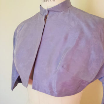 Vintage 1960s Bolero Jacket / Lavender 60s Jacket / 60s Purple Bolero / Dolman Sleeve / Vintage Cover Up / Cropped Jacket