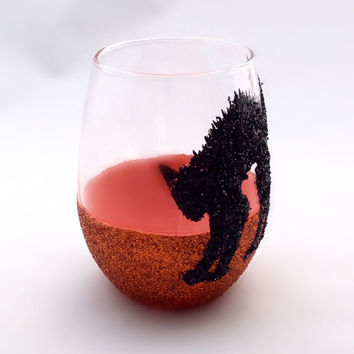 Halloween Black Cat Stemless wine glass.