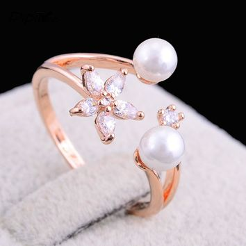 Wonderful Flower Simulated Pearl Ring for someone you Love.