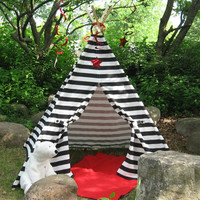 Striped Teepee Play Tent, Black Stripes, 6 Foot Poles Included