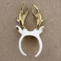 Lazy Oaf | This White stag ring is made by jewellery brand modern naked