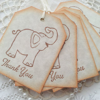Thank You Elephant Tags Baby Shower or Birthday Set of 6