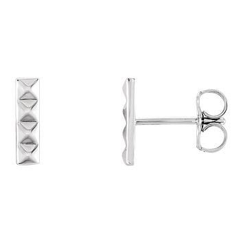 2.5mm x 9mm (3/8 Inch) 14k White Gold Small Pyramid Bar Earrings