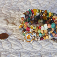 Sundance Style Jewelry Turtle Bracelet Memory Wire Wrap Assorted Beads Boho Rustic Cuff