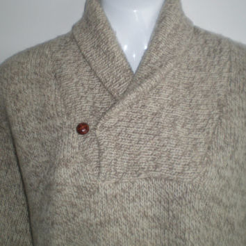 LL Bean Made in USA 100 percent wool, rag wool heather shawl collar neck sweater, Men's medium large