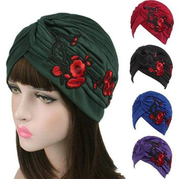 ONETOW 2017 New Arrival Knitted hat Women Embroidery Hats 9 Colors Cancer Chemo Hat Beanie Scarf Turban Head Wrap Cap