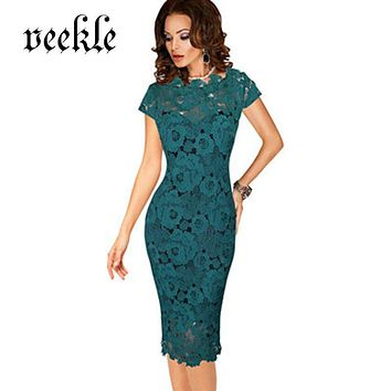 VEEKLE 2017 Summer Women Elegant Vintage Dress Office Work Applique Lace Evening Party Cap Sleeve Mother Of Bride Black Green
