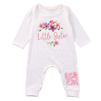 Newborn Baby Girls Cotton Cute Long Sleeve Floral Rompers Autumn One Pieces New Jumpsuit
