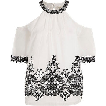 White high neck cold shoulder embroidered top - bardot / cold shoulder tops - tops - women