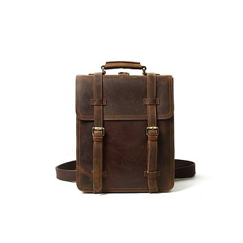 BLUESEBE VINTAGE BROWN LEATHER BACKPACK/MESSENGER BAG - YD8062