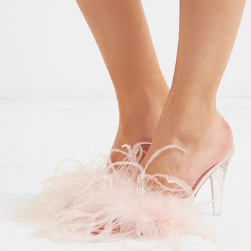 Brother Vellies - Palms feather-embellished satin mules