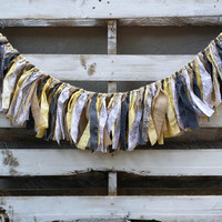 Rustic Modern Rag Garland, Burlap and Fabric Garland, Fabric Banner, Backdrop Garland, Rag Tie Garland, Rustic Wedding Garland,
