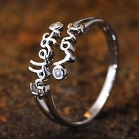Endless Love letters Open Kuckle Ring Adjustable Best Friend Ring Lovely Gift