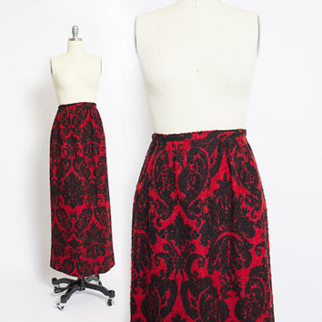 Vintage 1960s Maxi Skirt - Wool Boucle Red & Black Damask Print Full Length Boho - Small
