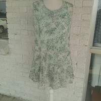 Green Floral Sleeveless Tank Top Ruffle Hemline