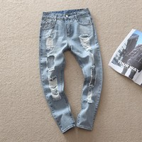 Ripped Holes Plus Size Baggy Jeans King Size High Waist Jeans [164468850717]