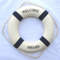 "Welcome Aboard Cloth Life Ring Navy Accent Nautical Decor 13.5"" New - Decoration Only"