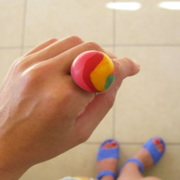Handmade Red and Yellow Ring, Polymer Clay Ring, Whimsical Ring, Big Dome Ring, Yellow Pink Green Jewelry, Adjustable Ring, Gift for Her