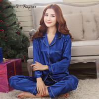 2016 Spring New arrival women satin pyjamas long sleeve nightdress two-pieces big size v neck breathable pajamas set 4 colors