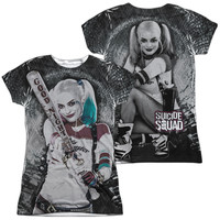 Suicide Squad Harley Quinn Tunnel Vision Sublimated Juniors T-Shirt