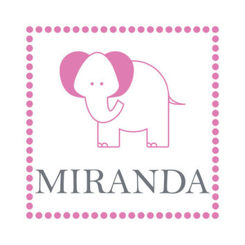 Personalized Elephant Wall Decal - Name Wall Decal with Polka Dots Border for Boy Girl Baby Nursery Toddler Room Wall Art 22H x 22W CN005