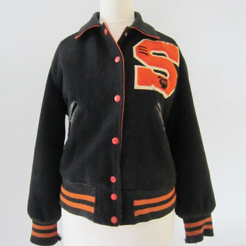 50s Black Wool Letterman Jacket from Texas, S-M // 50s Vintage Varsity Letter Jacket