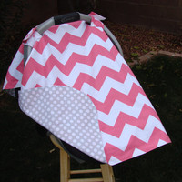 Baby Car Seat Cover Pink Chevron With Grey
