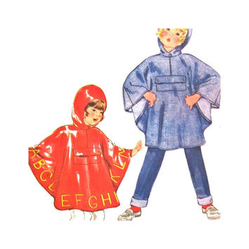 Butterick 3626 Uncut Pattern Children's Medium Poncho Rain Poncho with Transfer Size Medium Parsons School of Design