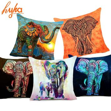 Hyha Bohemia Elephant Polyester Cushion Cover Indian Style 45x45cm Affection Animal Home Decorative Pillow Cover for Sofa Luxury