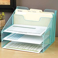 VANRA Metal Mesh Desktop File Sorter Organizer Desk Tray Organize with 3 Letter Trays and 2 Vertical Upright Sections, Green