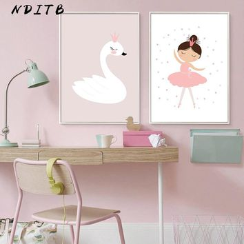 NDITB Baby Girl Nursery Wall Art Canvas Painting Swan Cartoon Posters Prints Nordic Kids Decoration Pictures Bedroom Decor