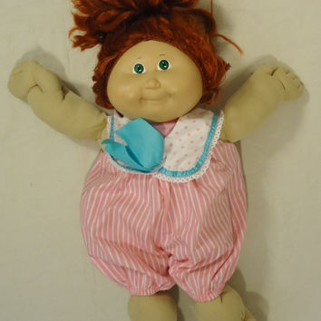 Cabbage Patch Kids 012-30cp Vintage Doll Pink Jumpsuit Plastic Fabric -- Good