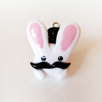 Funny Gentleman Mustache Bunny Charm Polymer Clay Miniature