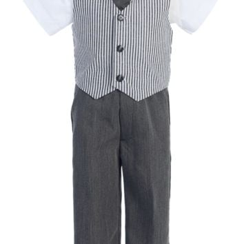 Charcoal Grey Boys Seersucker Vest & Pants Set 6M-7